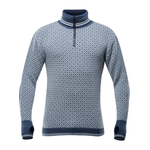 Devold M Slogen blue zip neck